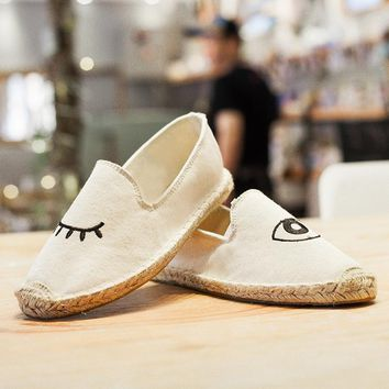 WOLF WHO 35-40 Flats Round Toe Zapatos Mujer Glitter Eyelash Slipony Straw Espadrilles Blink Eye Flat Shoes Women Canvas Shoes