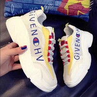 Givenchy X Champion Summer New Fashion Women Casual Breathable Net Surface Thick Sole Sport Shot Sneakers Yellow I12223-1