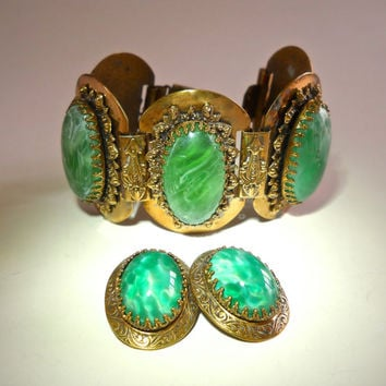 Victorian Solid Brass Bracelet Earrings Set, Green Thermoset Cabochons, Vintage