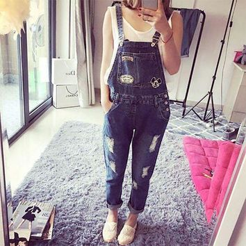 PEAP78W 2017 Korean Style Ladies Cartoon Casual Bodysuit Women Hole Ripped Denim Jumpsuits Female Body Feminino Jumpsuit Mujer Overalls