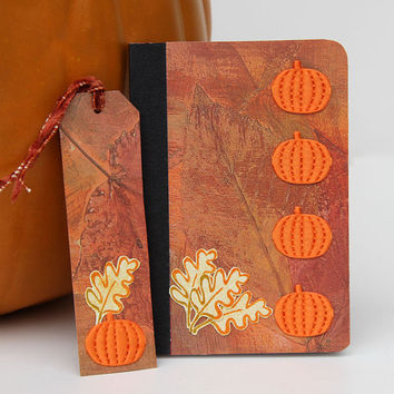 Small Pumpkins Mini Journal with Matching Bookmark, Handmade Pocket Notebook, Altered Composition Book, Fall Colors