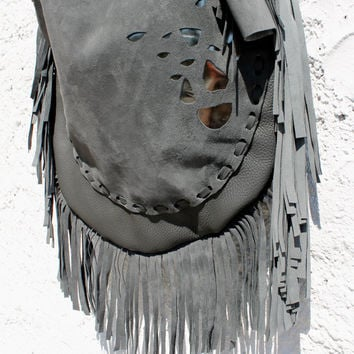 Large leather charcoal slouchy hobo raw edge bohemian hippie tribal tote bag festival fringe Sweet Smoke southwest western moroccan native