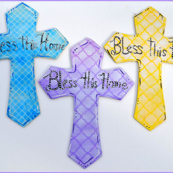 Religious Cross, Easter Cross, Cross - Bless This Home, Pastel Cross Door Hanger, Easter Decor, Religious Decor, Cross Door Hanger