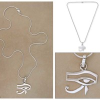 Sterling silver pendant necklace, 'Eye of Horus'