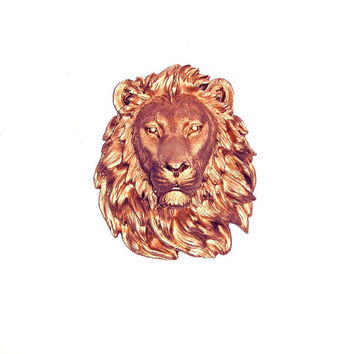 Faux Taxidermied - The Zayn - Copper Resin Lion Head- Resin White Faux Taxidermy- Chic & Trendy