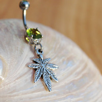 Marijuana Pot Weed Leaf Belly Navel Ring