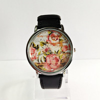 Floral on Wood Watch, Vintage Style Watch, Shabby Chic, Leather Watch, Women's watch,
