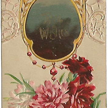 Best Wishes Looking Glass with Carnations Vintage Postcard 1909 Victorian