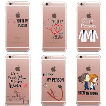 Greys Anatomy You are my person Phone Cases Cover For iPhone SE 5S 6 6S Plus 7 7Plus 8 8Plus X Soft silicon TPU Coque Capa Case