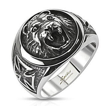 Spikes Stainless Steel Lion Head Celtic Cross Cast Ring