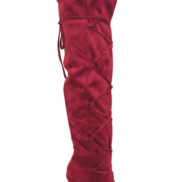 FINAL SALE - Lace Front Over The Knee Boots - Burgundy