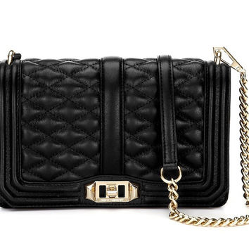 Rebecca Minkoff Chevron Quilted Sm Love Crossbody - Black/Gold