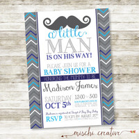 "Little Man Moustache and Chevrons Baby Shower Printable Invitation in Grays and Blues 5"" x 7"""