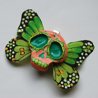 Green Sugar Skull Butterfly Hair clip, Dia de los Muertos, day of the dead on sale