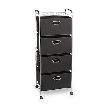 Essential Home Chrome/Black Sturdy Metal Shelving, Easy to Clean, Spot Clean 4-Drawer Wire Storage Cart