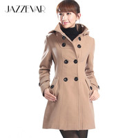 women's Hooded Double Breasted Trench Wool Coat long Winter Jackets parka coats Outerwear for lady good quality C0229