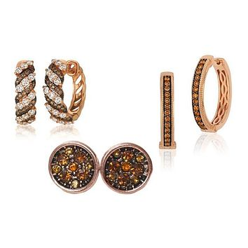 Unique In Style Trendy Earrings Chocolate Simulated Diamond Rose Gold Plated Earrings