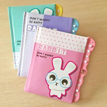 Korean Cute Rabbit Mini Diary Book with Lock Notebook Journal Diary Combination Lock Kids Gift Stationery School