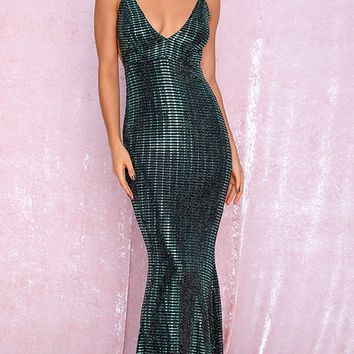 Strike It Rich Dark Teal Sequin Sleeveless Spaghetti Strap Plunge V Neck Ruched Fishtail Mermaid Maxi Dress