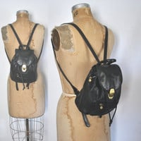 Leather Backpack Bookbag / black bag / Nine West