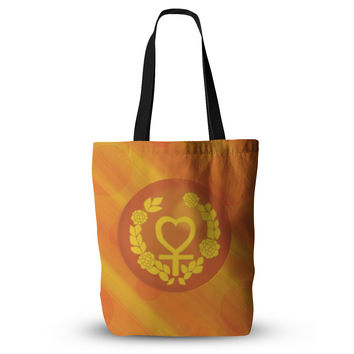 "NL Designs ""Venus"" Orange Yellow Everything Tote Bag"