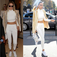 White High Neck Crop Top Track Suit