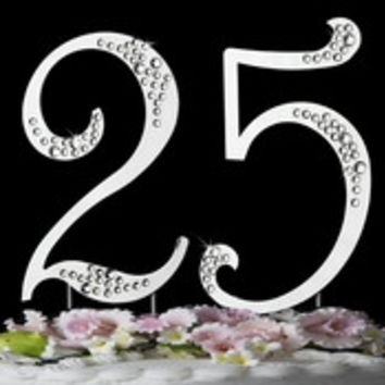 25th Anniversary or Birthday Crystal Accented Cake Top * Sparkle *