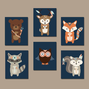 Tribal WOODLAND Nursery Wall Art, Animal Artwork, Navy Forest Pals Deer Squirrel OWL Raccoon FOX Boy Bedroom Canvas or Prints Set of 6 Decor