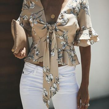 Feel The Love Peplum Tie Top - Taupe