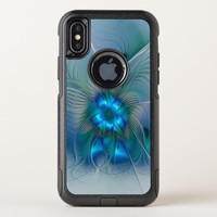 Standing Ovations, Abstract Blue Turquoise Fractal OtterBox Commuter iPhone X Case