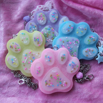 Sprinkle Paw Deluxe Necklace - Kawaii - Pastel - Lolita - Fairy Kei - Cat - Dog - Decoden - Cute - Sweet - Sweets - Sprinkles