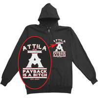 Attila Men's  Payback Zippered Hooded Sweatshirt Black