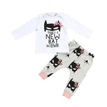 Newborn Toddler Baby Girls Batman Cotton Top T-shirt Pants Baby Girls Clothes  New Arrival Outfits Set Clothing For Newborns