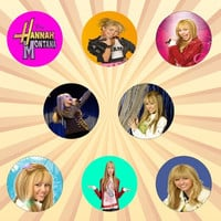 HANNAH MONTANA Miley Cyrus Set of 8 - 1 Inch Pinback Buttons or Magnets