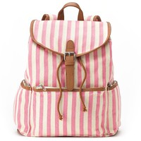 Candie's Nicole Vertical Striped Backpack (Pink)