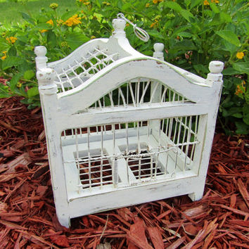 Vintage Wood shabby chic distressed  Bird Cage,home decor,