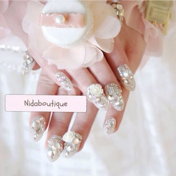Kawaii Bridal Rose 3D Swarovski false nails set