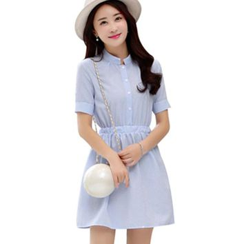 Shirt Dress Women Summer Dress 2017 Fashion Korean Female Short Sleeve White And Blue Striped Linen Casual Dresses For Ladies