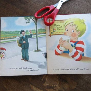 1940s Vintage Children's Book 'The Little Boy Who Ran Away' by Lucy~Adorable Post-War Illustrations/Americana, Flawed/Ephemera/Upcycle