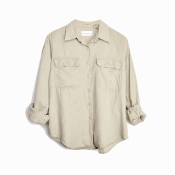 Vintage Linen Work Shirt in Natural - women's medium