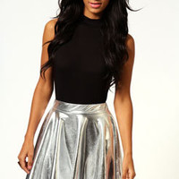 Deena Metallic Shiny Skater Skirt
