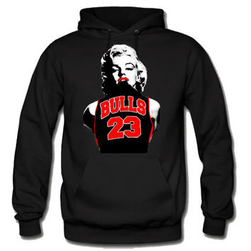 Marilyn Monroe Chicago Bulls Sweatshirt Hoodie in Black for Adults