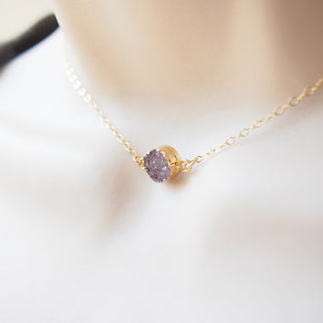 Agate Druzy Gold Necklace Gemstone Gold Necklace Choker Necklace Drusy Stone Necklace