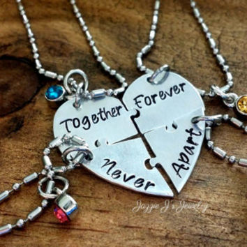 Together Forever Never Apart Four Piece Puzzle Heart Necklace Set, Handstamped 4 Split Heart Necklace Set, Sisters Jewelry, Best Friends Set