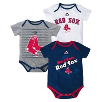 Majestic Boston Red Sox Triple Play 3-Piece Bodysuit Set - Baby, Size: