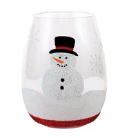 Snowman Glitter Stemless Wine Glass