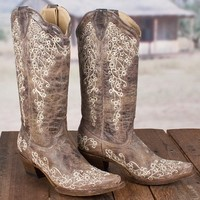 Brown Crater Bone Embroidery Corral Boot