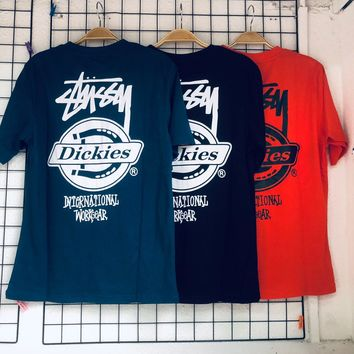 hcxx 1078 Stussy Dickies Cotton T-shirt with round collar