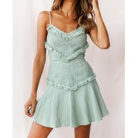 Summer New Fashion Solid Color Straps Dress Women Light Green