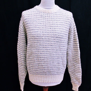 Vintage 90s Shaker Chunky Fashion Wool Blend Plain Jumper Sweater Medium